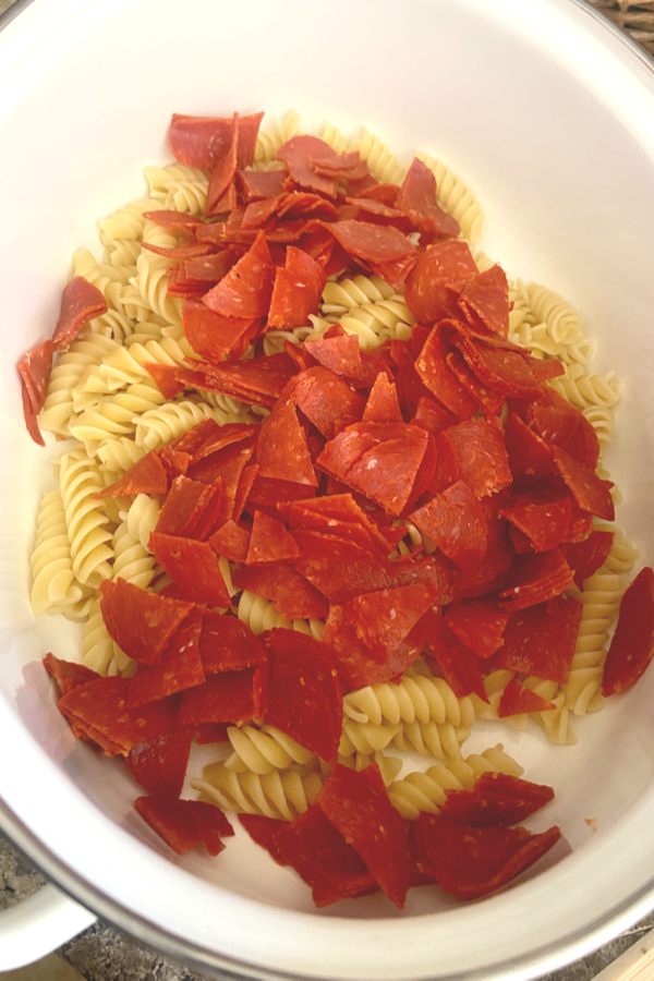 rotini noodles and pepperoni