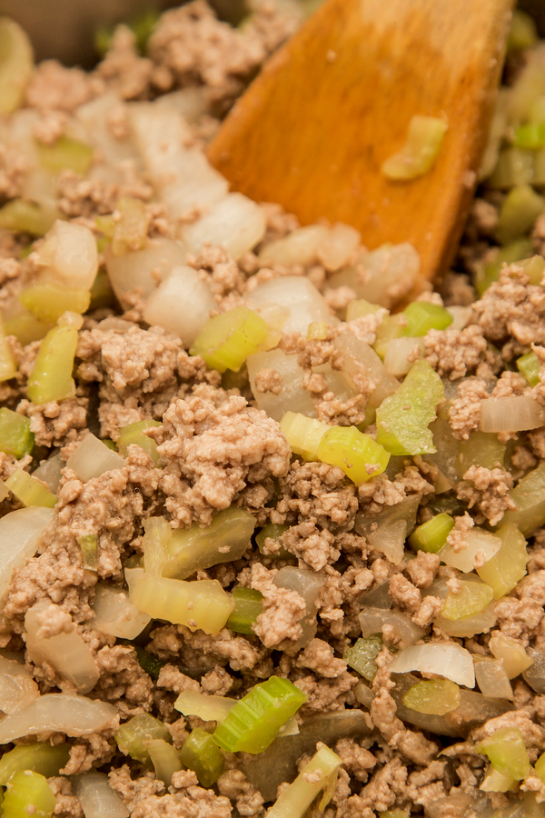 browning ground beef, onion and celery