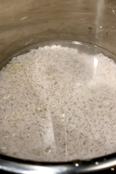 rice and water in instant pot liner
