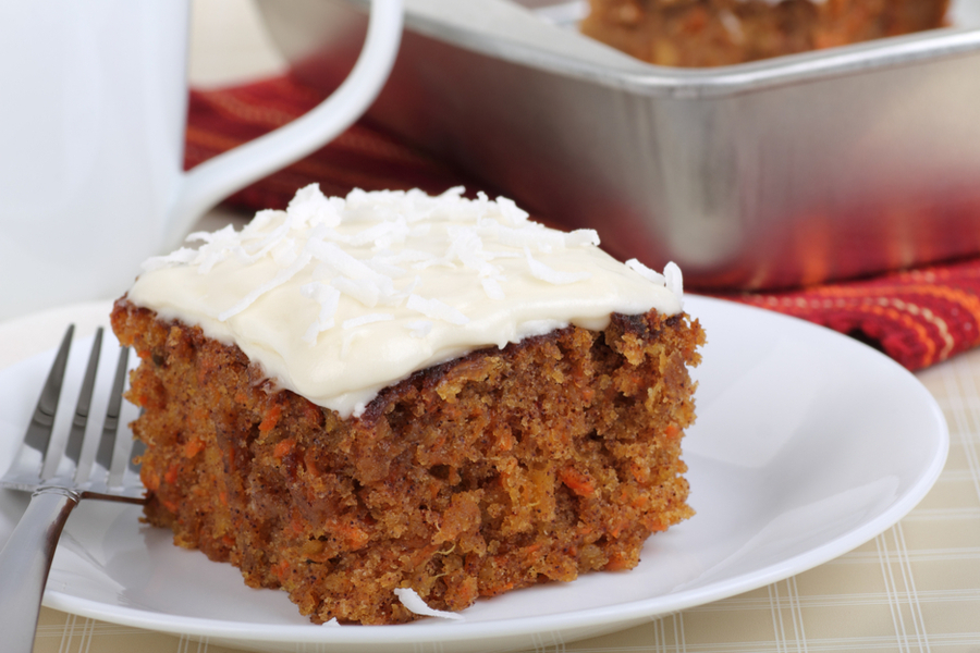 A slice of carrot cake on plate