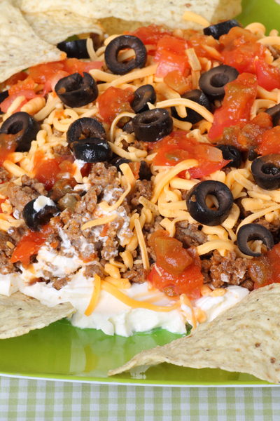 7 layer Mexican Dip with beef