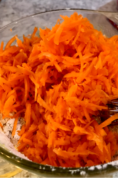 bowl of shredded carrots