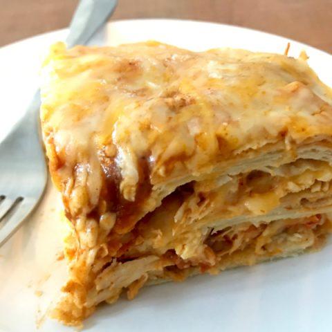 slice of enchilada casserole