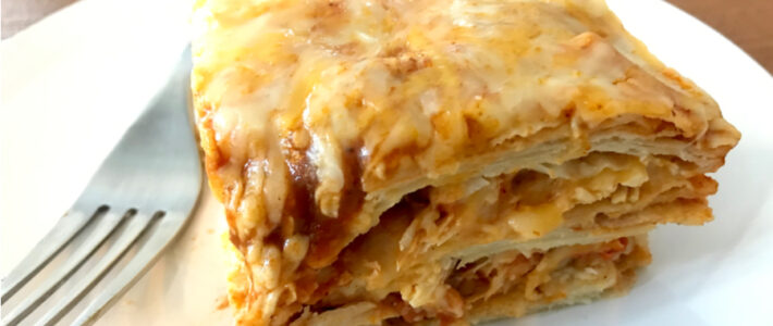slice of enchilada casserole