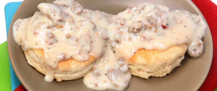 sausage gravy on plate