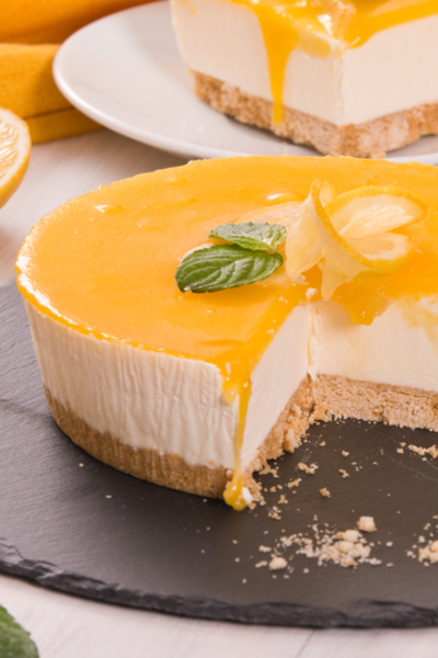 lemon curd on cheesecake