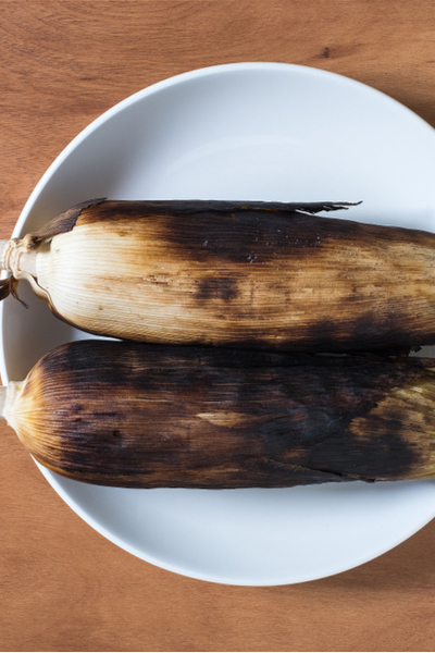 charred corn on the cob