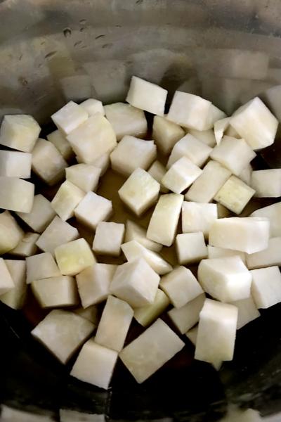diced turnips
