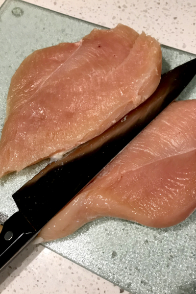 slicing chicken breast