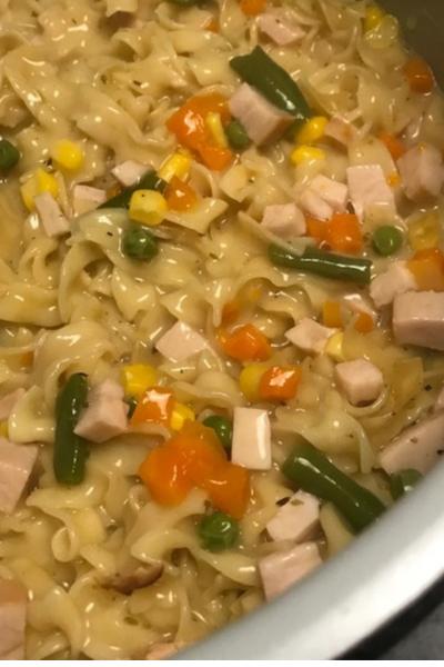 cooked instant pot turkey noodle casserole
