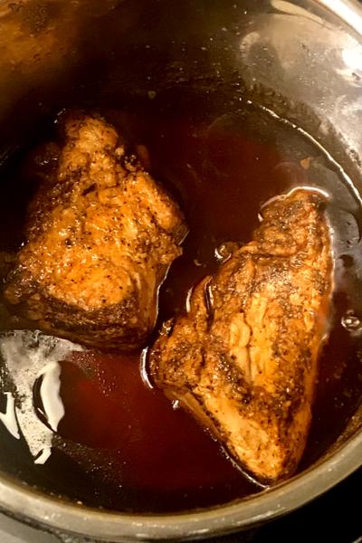 Cooked Instant Pot Balsamic Pork Tenderloin