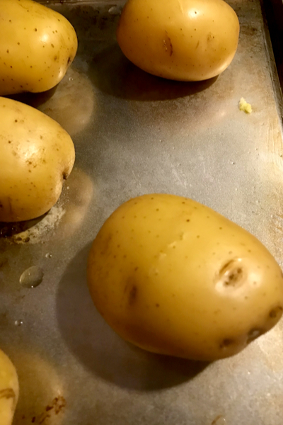 potatoes on baking sheet