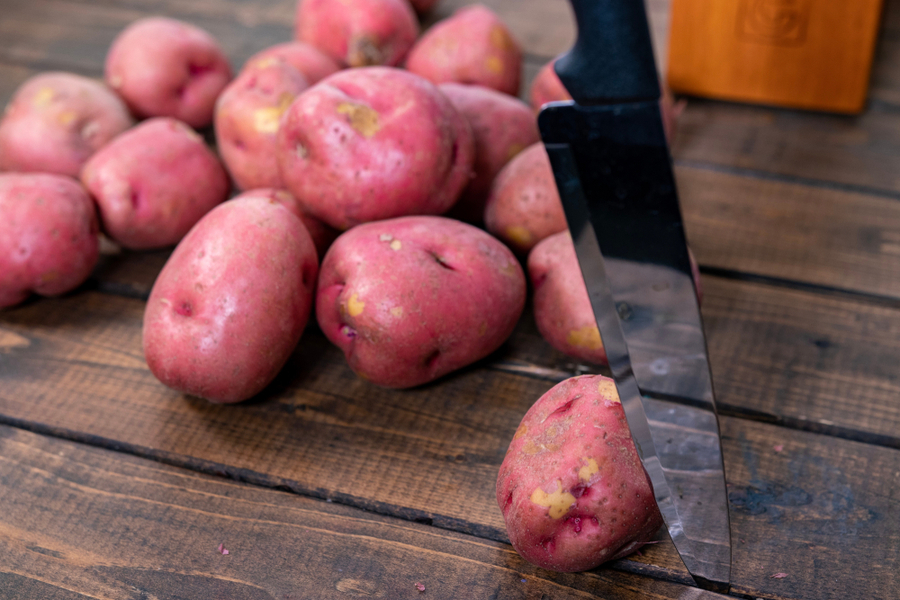 cut red potatoes
