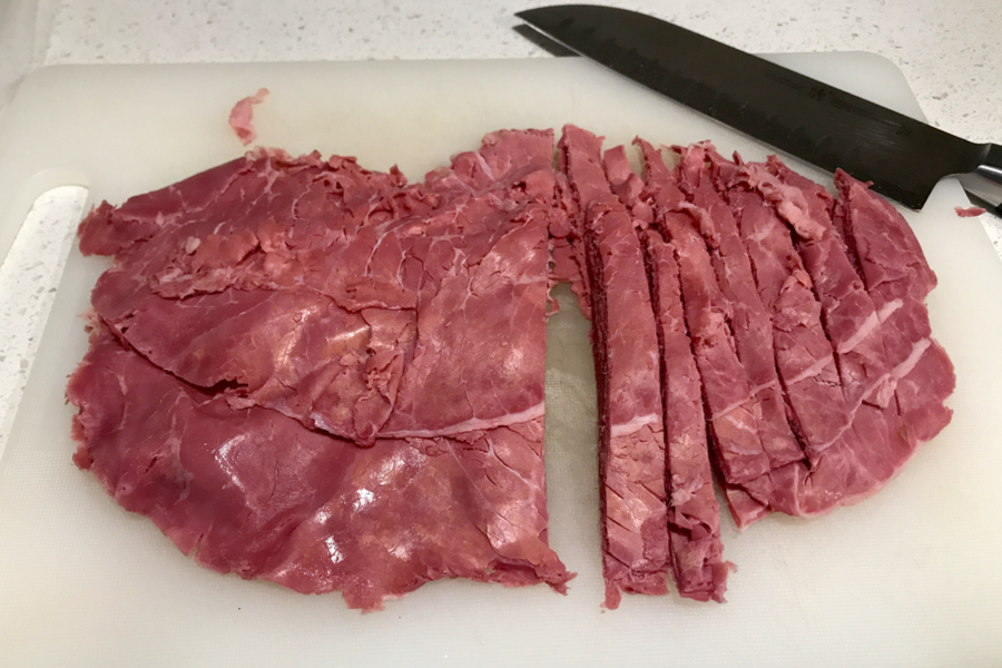 cutting up corned beef