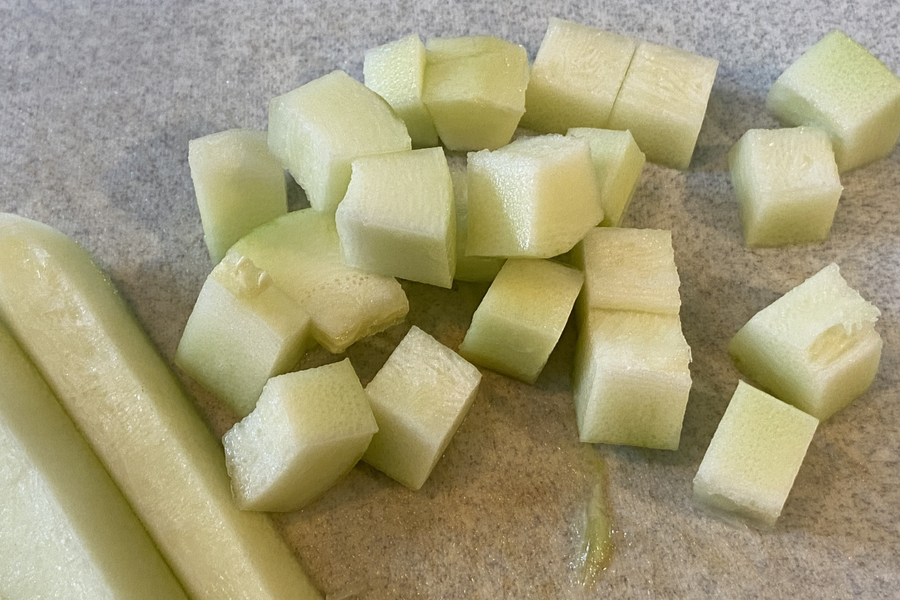 peeled and diced zucchini