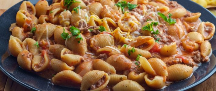 slow cooker creamy beef and shells featured