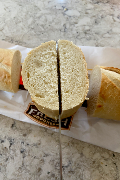 cutting bread lengthwise