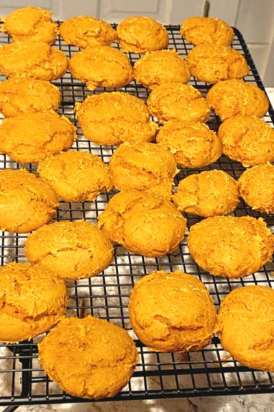 pumpkin cookies on cooling rack