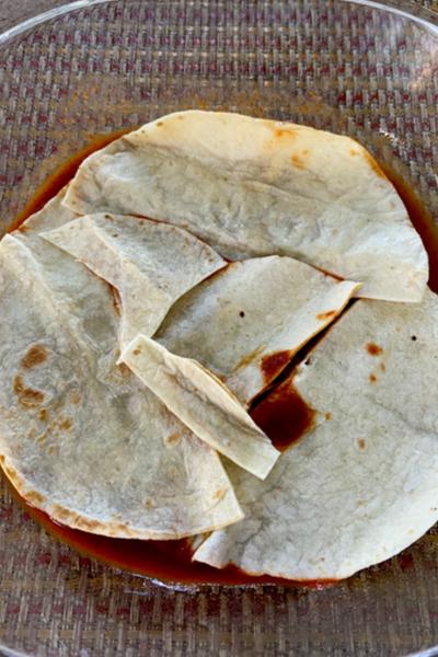 enchilada casserole bottom