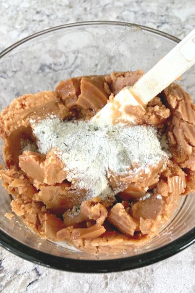 mixing dip ingredients