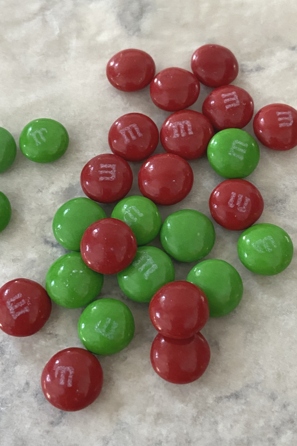 red and green M&M