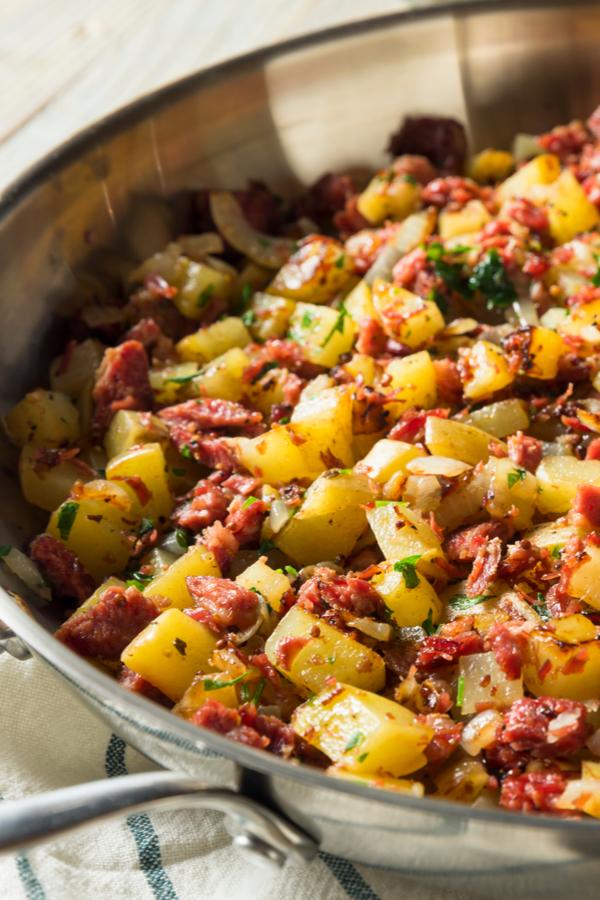 corned beef hash in pan