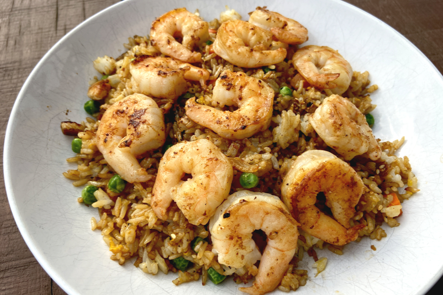hibachi shrimp recipe on a white plate