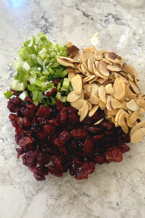 toasted almonds, dried cranberries and diced green onions