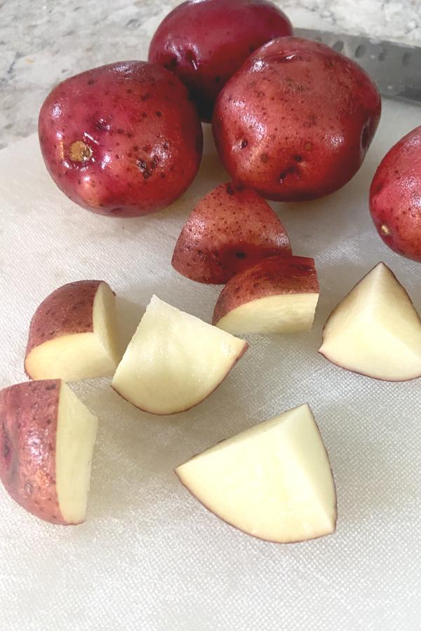 red potatoes cut