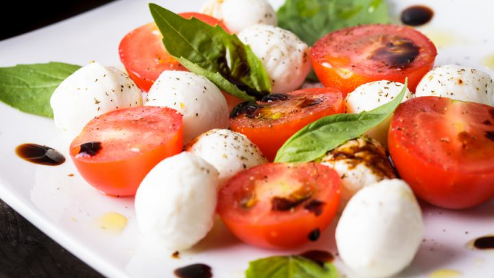 featured caprese salad with cherry tomatoes