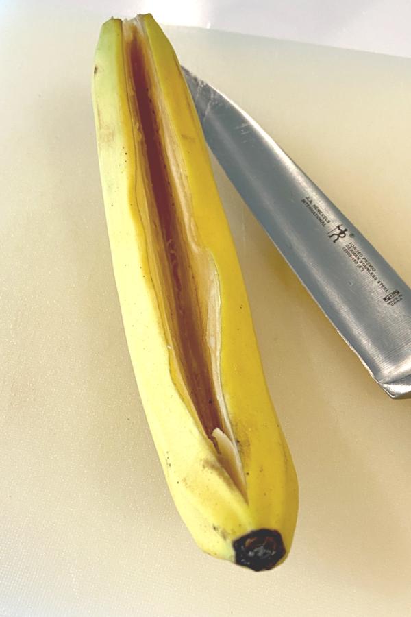 cutting a banana